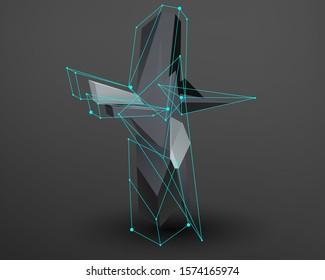 3D prism font with neon line connected. Alphabet - T