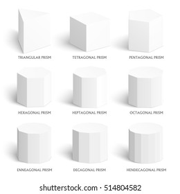 3d prisms template. Realistic with shadow. Perfect for school, study, designers