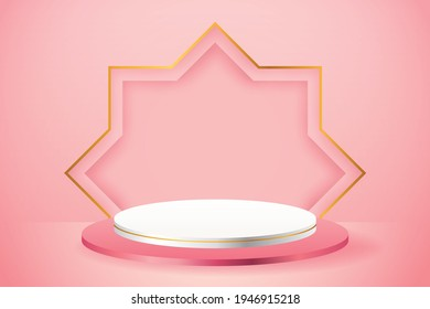 3d product display pink and white podium themed islamic with gold star for ramadan