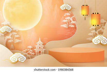 3d products podium mid autumn festival holiday or chinese new year, chinese festivals vector design with  paper art ,flower, moon, rabbit, and asian elements with craft style on background.