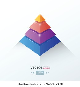 3D pyramid business Infographic pink, blue, orange, Purple color