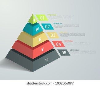 3D pyramid infographic template for business, education, web design, banners, brochures, flyers, diagram, workflow, timeline. Vector illustration.