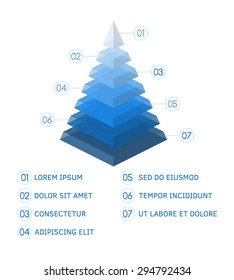 3D pyramid shape isometric graph in blue colors to illustrate business or motivation data. Isolated vector illustration.