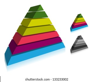 3d Pyramidal Layered Vector Icon in perspective