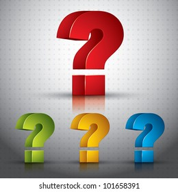 3d question mark vector icon, set of color versions. Contain transparent shadows and reflections ready to put over any background.