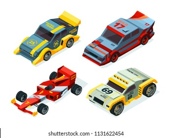 3D racing cars. Isometric sport pictures. Vector auto sport, automobile for race speed illustration