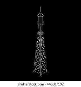 3d Radio Tower.Isolated on black background.3d isometric style. Vector outline illustration.