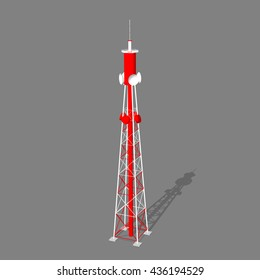 3d Radio Tower.Isolated on gray  background. Vector illustration.