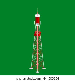 3d Radio Tower.Isolated on green  background. 3d isometric style. Vector illustration.