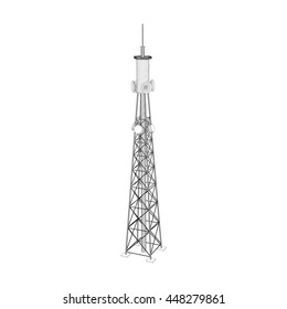 3d Radio Tower.Isolated on white background. Vector outline illustration.
