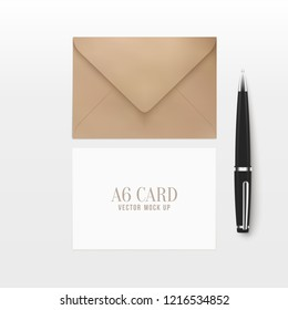 3d realistic A6 envelope greeting card mock up with pen. Clean photo realistic paper invitation mockup. Vector illustration.