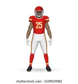 3D realistic American football player, Team Kit template design Kansas City Chiefs