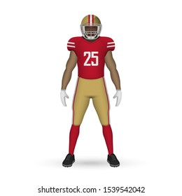3D realistic American football player, Team Kit template design San Francisco 49ers