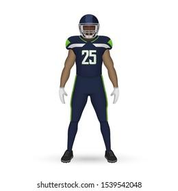 3D realistic American football player, Team Kit template design Seattle Seahawks