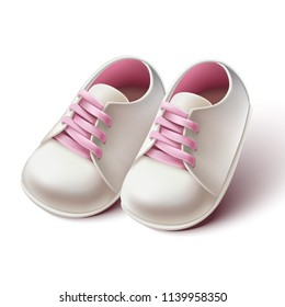 3d realistic baby girl pram shoes. Design element for baby shower invitations, birthday card or baptism ceremony.