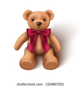 3d realistic baby toy teddy bear with red velvet bow. Isolated.