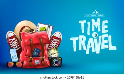 3D Realistic Banner with Items for like Backpack, Backpack, Sneakers, Compass, Mobile Phone, Sunglasses, Hat, Camera and Notebook in Blue Background. Vector Illustration