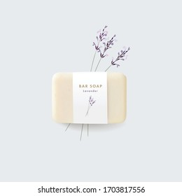 3D realistic bar soap illustration mock-up, template with paper label. Hand drawn blooming lavender herbs, flowers. Vector floral background. Hygiene, spa and herbal cosmetics product branding concept