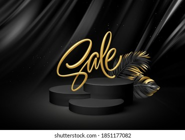 3d realistic black pedestal on a black silk background with golden Sale lettering and palm leaves. Empty space design luxury mockup scene for product. Vector illustration EPS10