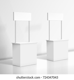 3D Realistic Blank White Promo Stand. EPS10 Vector