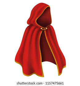 3d realistic cape with hood in red with golden details. Flowing, wavy fabric for carnival, vampire, witches or illusionists.