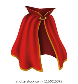 3d realistic cape in red with golden details. Flowing, wavy fabric for carnival, vampire, witches or illusionists.