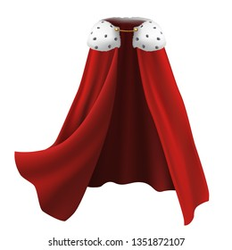 3d realistic cape in red with white fur and golden details. Flowing, wavy fabric for carnival, king and royalty.