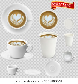 3d realistic cappuccino coffee in white cups view from the top and side. Cappuccino coffee in white paper Cups. A Cup of cappuccino coffee and saucer, top view, realistic vector