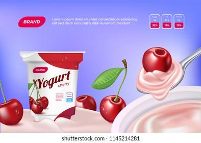 3d realistic cherry yogurt advertisement. Package and cherries in cream yoghurt.