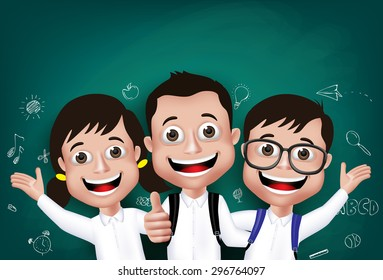 3D Realistic Children Student Boys and Girls Happy Smiling in Front of Blackboard With Back to School Drawings Written in Background. Vector Illustration