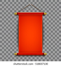 3d realistic chinese scroll illustration on transparent background. Eps10 vector template.