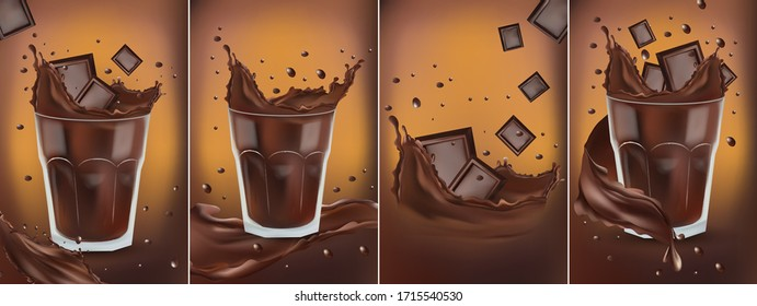 3D realistic chocolate splash in the transparent glass with pieces chocolate. Splashing dark chocolate. Hot chocolate, cocoa, cocktail or coffee drink.Banner. Vector illustration for design label