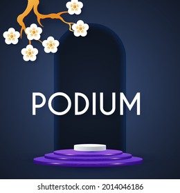 3D realistic circle podium with sacura flowers. Empty stage. Showcase design.