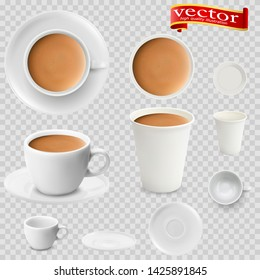 3d realistic cocoa drink coffee in white cups view from the top and side. Cocoa drink coffee in white paper Cups. A Cup of cocoa drink coffee and saucer, top view, realistic vector