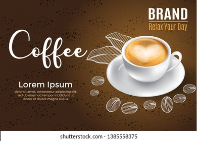 3d realistic coffee with porcelaine glass ads for label