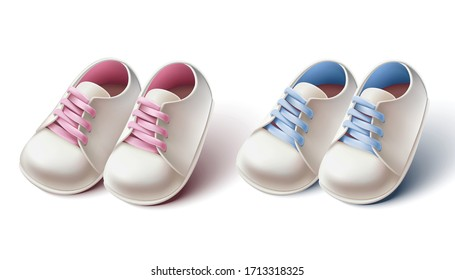 3d realistic collection of baby girl and boy pram shoes. Design element for baby shower invitations, birthday card or baptism ceremony.
