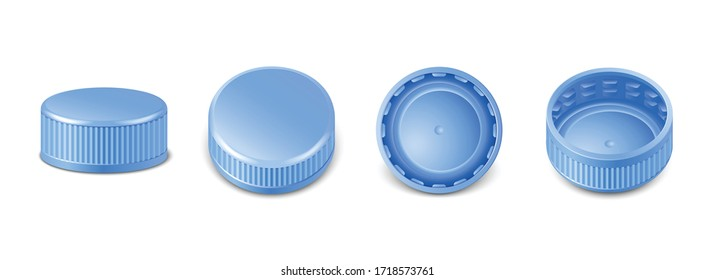3d realistic collection of blue plastic bottle caps in side, top and bottom view.  Mockup with pet screw lids for water, beer, cider of soda. Isolated icon illustration.