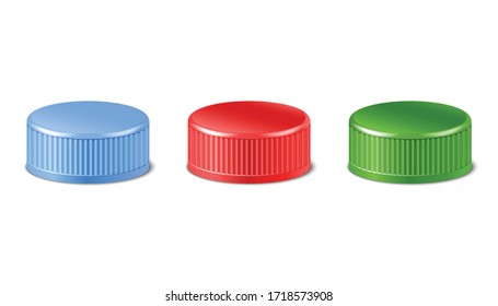 3d realistic collection of red, green, blue plastic bottle caps in side view.  Mockup with pet screw lids for water, beer, cider of soda. Isolated icon illustration.
