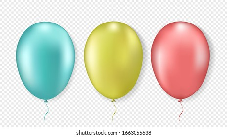 3d Realistic colorful balloons. Blue, red and yellow. Isolated on white background. Vector illustration