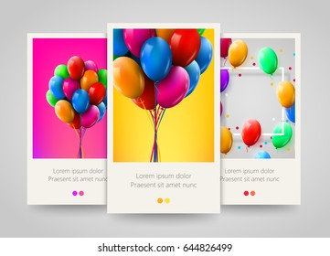 3d Realistic Colorful Bunch of Birthday Balloons Flying for Party and Celebrations. Poster, flyer or ticket design. Vector illustration