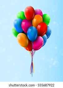 3d Realistic Colorful Bunch of Flying in sky Birthday Balloons. Party and Celebration concept. Vector Illustration.