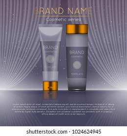 3D realistic cosmetic bottle ads template. Cosmetic brand advertising concept design with wavy light abstract background.