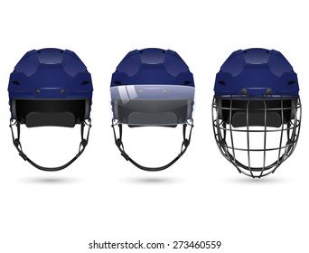 3d realistic dark blue hockey helmet in three varieties - without protection, with visor and goalkeepers. Isolated on white background. Vector EPS10 illustration.