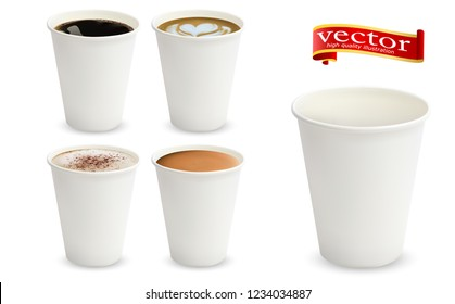 3d realistic different sorts of coffee in white cups view from side. Cappuccino latte americano espresso cocoa in realistic cups. 3d model for cafe menu. White paper cup isolated on white background