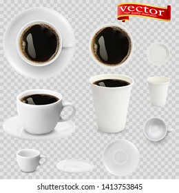 3d realistic espresso coffee in white cups view from the top and side. Espresso coffee in white paper Cups. A Cup of espresso coffee and saucer, top view, realistic vector