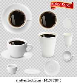3d realistischer Espresso-Kaffee in weißen Tassen Blick von oben und Seite. Espressokaffee in weißen Papierbechern. Eine Tasse Espressokaffee und Untertasse, Draufsicht, realistischer Vektorgrafik