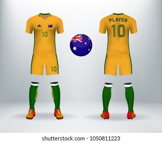 3D realistic of font and back of Australia soccer jersey shirt with pants and Australia badge logo. Concept for national soccer team uniform or football apparel mockup template in vector illustration.