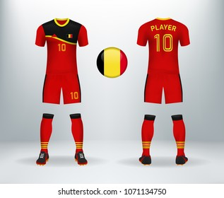 3D realistic of font and back of Belgium soccer jersey shirt with pants and  Belgian badge ac3a5c0ce