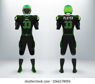 3D realistic of font and back of black and green American rugby football jersey uniforms sets. Concept for American football apparel mock up template in vector illustration in retail shop.