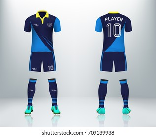 3D realistic of font and back blue stripe soccer jersey shirt with pants and soccer socks on shop backdrop. Concept for soccer team uniform or football apparel mockup template in vector illustration